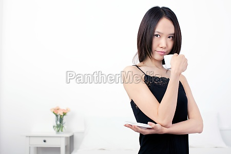 young woman teacup chinese oriental the
