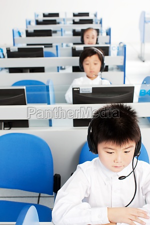 asians computer classroom children class knowledge