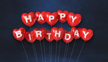 red happy birthday heart shape air