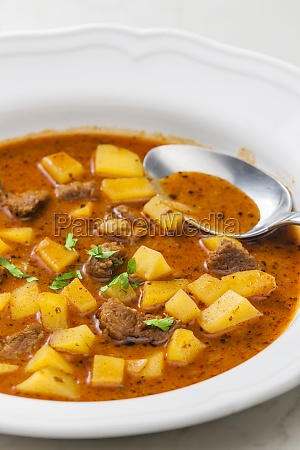 beef goulash soup with potatoes