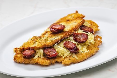potato pancake filled with cabbage and