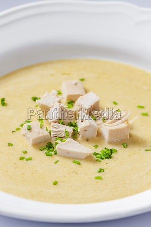 creamy chicken soup with chive