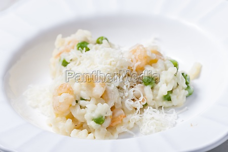 italian risotto with shrimps and green