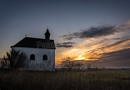 chapel in burgenland at sunrise