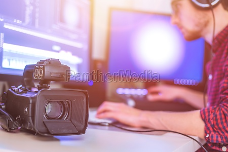 professional cutting room for video editing