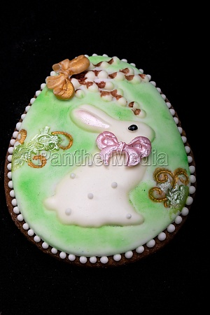 easter decoration with a white rabbit