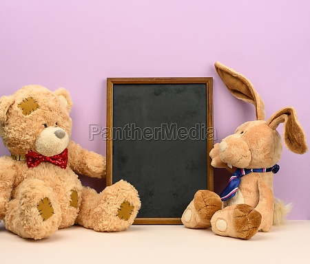 cute brown teddy bear and rabbit