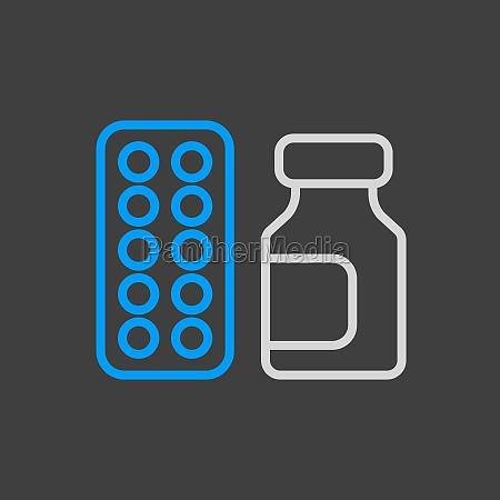 medicine jar and pills strip vector