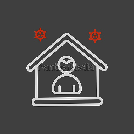 i stay at home vector icon