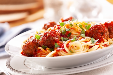 bowl of homemade pasta with meatballs