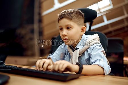 joyful boy works on pc little