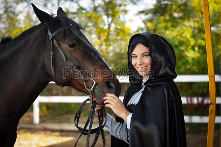 happy girl in medieval clothes and
