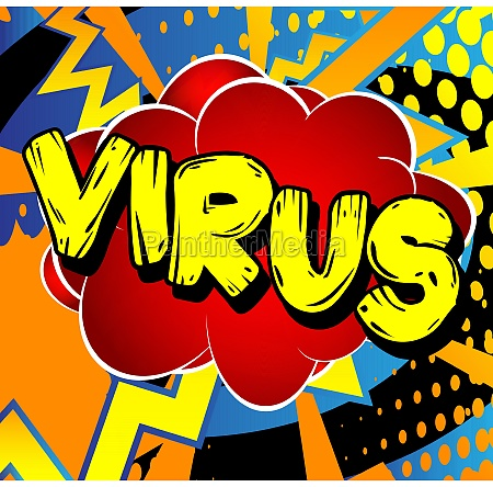 virus comic book style text