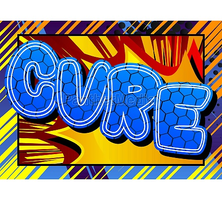 cure comic book style text