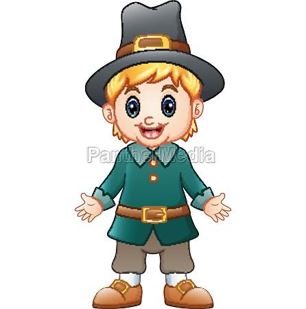vector illustration of cartoon boy pilgrim