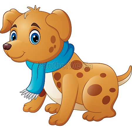 cartoon dog in a scarf illustration