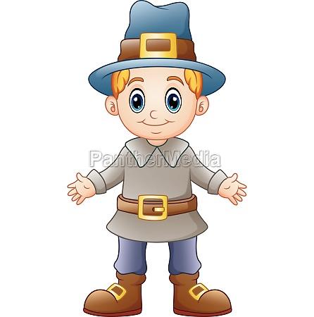 cartoon boy pilgrim on white background