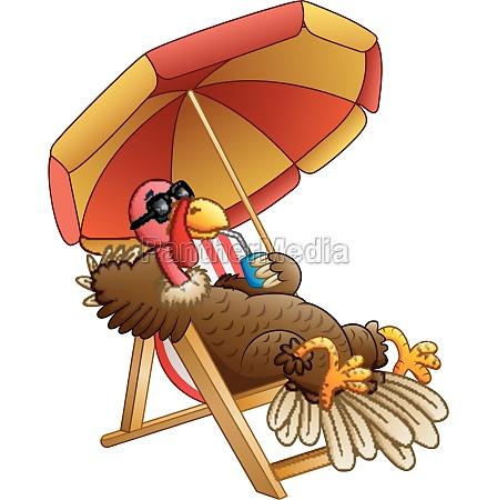 cartoon turkey bird sitting on beach
