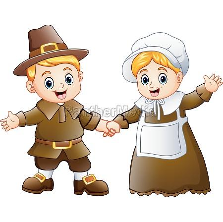 thanksgiving day of pilgrim couple waving