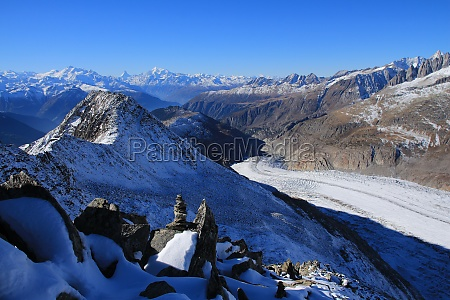 aletsch glacier and distant view of