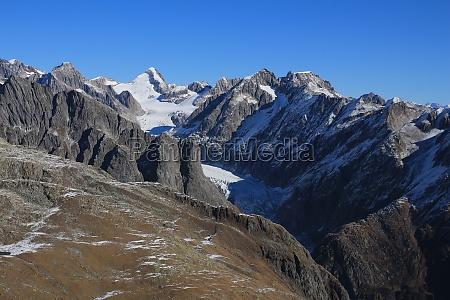 fiescherhorn and fiescher glacier