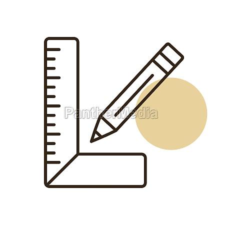 carpenter square and pencil vector flat