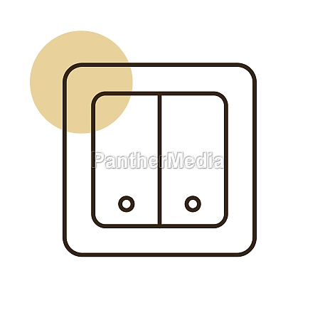 electrical switch two buttons vector flat