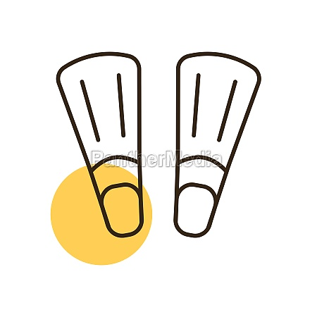 diving flippers flat vector icon summer
