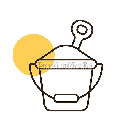 sand bucket and shovel flat vector