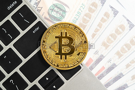 golden bitcoins coin and us