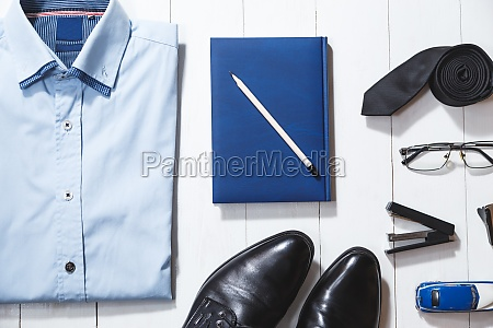 flat lay fashion set of businessman