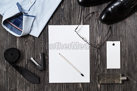 set of businessman fashion accessories and