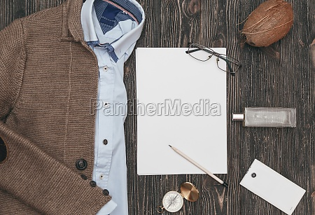 squared flat lay of mens casual