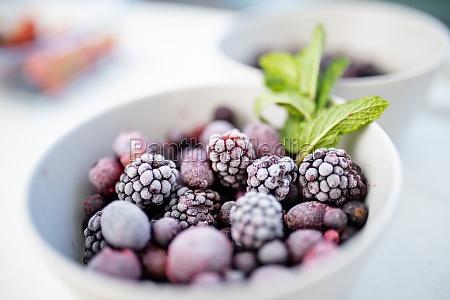 bowl of dark berries and mint