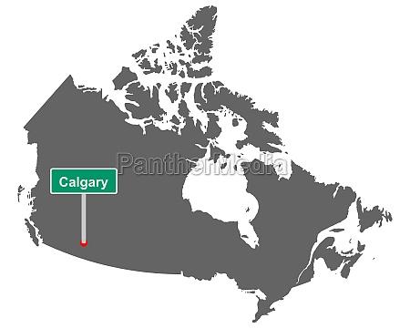 landkarte von kanada mit ortsschild von