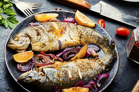 baked trout with lemon fish dish