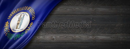 kentucky flag on black wood wall