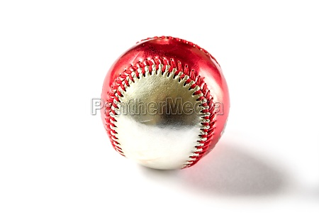 red and silver baseball ball isolated