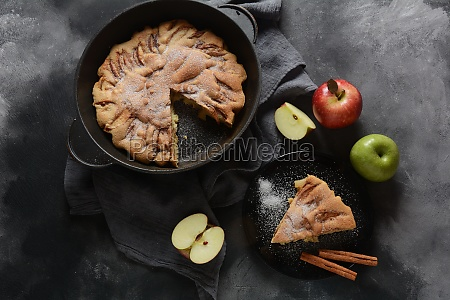 homemade apple pie with sugar powder