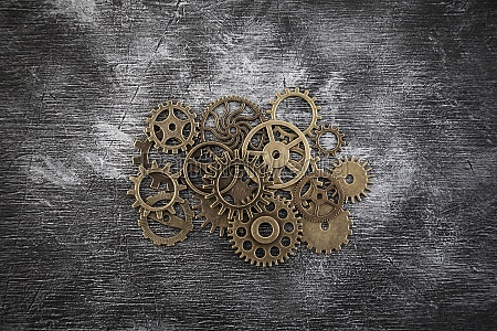 group of old gears and cogs