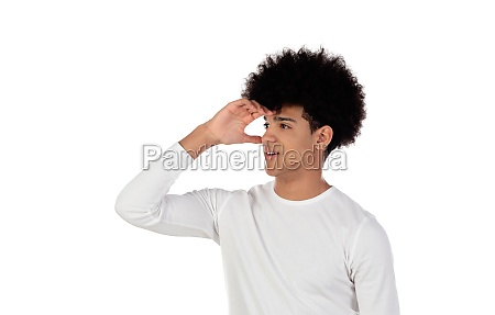 pensive teenager boy wiht afro hairstyle