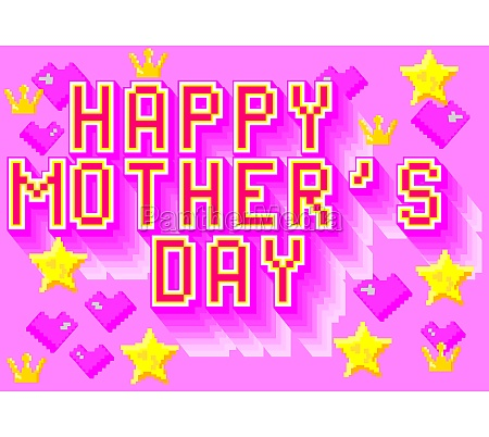 happy mothers day lettering pixel art