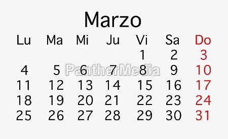 march 2019 planing calendar
