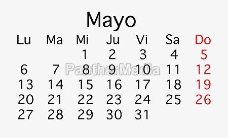 may 2019 planing calendar