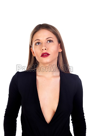 stylish girl dressed in black with
