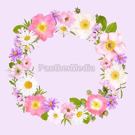 flower wreath with roses daisies and