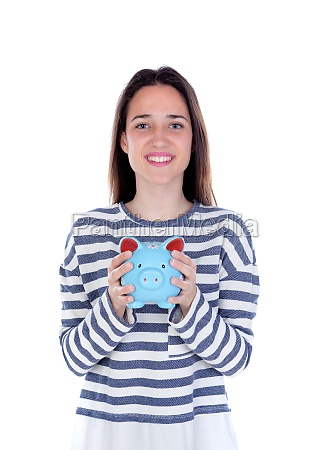 teenager girl with blue piggy bank