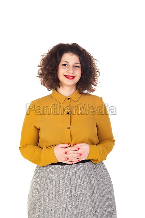 attractive curvy girl with yellow shirt