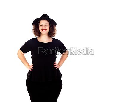 stylish curvy girl with black hat