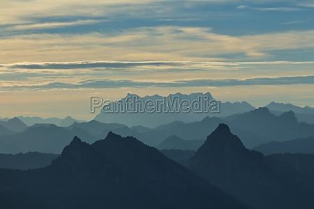 morning scene on the rigi silhouettes